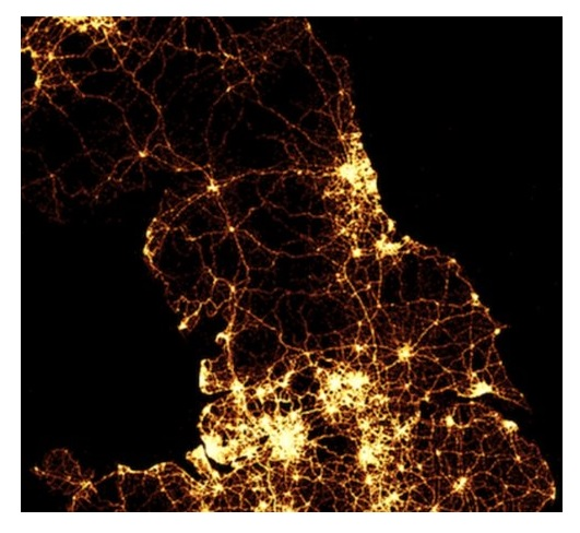 Satellite image of the north of England at night.
